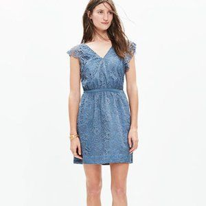 NWT Madewell Lace Flutter Sleeve Dress Dusty Blue